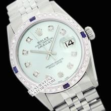 Rolex Men's Stainless Steel, QuickSet, Diam Dial & Diam/Sapphire Bezel - REF#447X3G