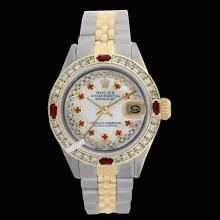 Rolex Men's 2Tone 14K Gold/ SS, QuickSet, Diam/Ruby Dial & Diam/Ruby Bezel - REF#474H5T