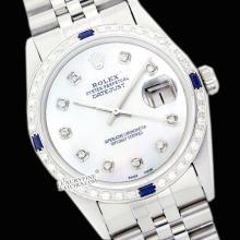 Rolex Ladies Stainless Steel, Diam Dial & Diam/Sapphire Bezel, Saph Crystal - REF#338X2G