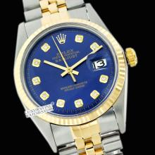Rolex Men's 2Tone 14K Gold/ SS, QuickSet, Diamond Dial Fluted Bezel - REF#343W6Z