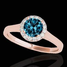 Genuine 1.11 CTW Certified Fancy Blue Genuine Diamond Solitaire Halo Ring Gold - 33820-REF#104H3R