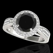 Genuine 2.15 CTW Certified Black Genuine Diamond Bridal Solitaire Halo Ring Gold - 34417-REF#84T8X