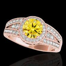 Genuine 1.50 CTW Certified Fancy Intense Genuine Diamond Solitaire Halo Ring Gold - 34077-REF#120V7F