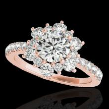 Genuine 2.19 CTW Certified G-I Genuine Diamond Bridal Solitaire Halo Ring Gold - 33716-REF#162W8K