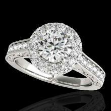 Genuine 1.70 CTW Certified G-I Genuine Diamond Bridal Solitaire Halo Ring Gold - 33724-REF#127G3W