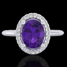 Natural 1.75 CTW Amethyst & Micro Pave Diamond Bridal Ring Solitaire Halo 18K Gold - 20998-REF#43V6F