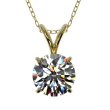 Genuine 1.01 CTW Certified H-I Quality Genuine Diamond Bridal Solitaire Necklace Gold - 36755-REF#79N8G