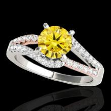 Genuine 1.40 CTW Certified Fancy Intense Genuine Diamond Solitaire Ring 2 Tone Gold - 35300-REF#114A3N