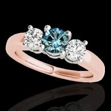 Genuine 2.0 CTW Certified Fancy Blue Genuine Diamond 3 Stone Solitaire Ring Gold - 35445-REF#220Z2Y