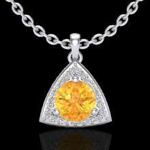 Genuine 1.50 CTW Citrine & Micro Pave Halo Solitaire Diamond Necklace 18K Gold - 20521-REF#35M2H