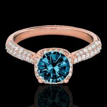 Genuine 1.50 CTW Certified Fancy Blue Genuine Diamond Solitaire Halo Ring Gold - 33264-REF#114N2G