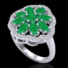 Genuine 4.0 CTW Emerald & Diamond Certified Cluster Designer Halo Ring Gold - 20779-REF#45W5K
