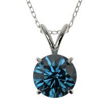 Genuine 1.0 CTW Certified Intense Blue Genuine Diamond Solitaire Necklace Gold - 33188-REF#79V2F