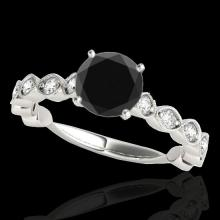 Genuine 1.50 CTW Certified Black Genuine Diamond Solitaire Bridal Ring Gold - 34883-REF#58X8A