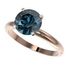Genuine 2.50 CTW Certified Intense Blue Genuine Diamond Solitaire Engagement Ring Gold - 32949-REF#561G2W