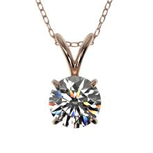 Genuine 0.77 CTW Certified H-I Quality Genuine Diamond Bridal Solitaire Necklace Gold - 36740-REF#55Z2Y