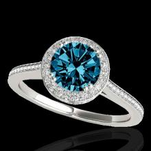 Genuine 2.03 CTW Certified Fancy Blue Genuine Diamond Solitaire Halo Ring Gold - 33540-REF#192N7G