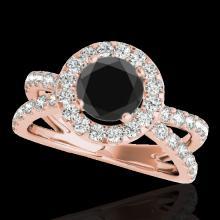 Genuine 2.01 CTW Certified Black Genuine Diamond Bridal Solitaire Halo Ring Gold - 34029-REF#91R2Z