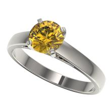 Genuine 1.25 CTW Certified Intense Yellow Genuine Diamond Solitaire Ring Gold - 33008-REF#109Z2Y