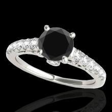 Genuine 1.50 CTW Certified Black Genuine Diamond Solitaire Bridal Ring Gold - 34989-REF#63Z2Y