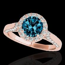 Genuine 1.50 CTW Certified Fancy Blue Genuine Diamond Solitaire Halo Ring Gold - 33568-REF#117N5G