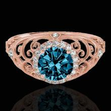 Genuine 1.22 CTW Certified Fancy Blue Genuine Diamond Solitaire Halo Ring Gold - 33784-REF#108X2A