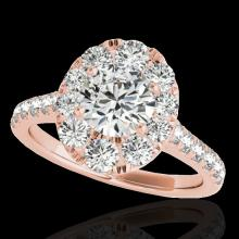 Genuine 2.0 CTW Certified G-I Genuine Diamond Bridal Solitaire Halo Ring Gold - 34079-REF#143A8N