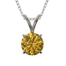 Genuine 0.73 CTW Certified Intense Yellow Genuine Diamond Solitaire Necklace Gold - 36746-REF#52Z8Y