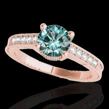 Genuine 1.20 CTW Certified Fancy Blue Genuine Diamond Solitaire Antique Ring Gold - 34753-REF#99Y2V