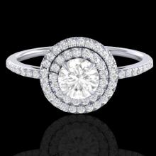 Natural 1.0 CTW Micro Pave Diamond Solitaire Bridal Ring Double Halo 18K Gold - 21614-REF#89N9G