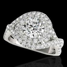 Genuine 1.75 CTW Certified G-I Genuine Diamond Bridal Solitaire Halo Ring Gold - 33864-REF#136H3R