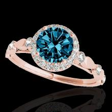 Genuine 1.25 CTW Certified Fancy Blue Genuine Diamond Solitaire Halo Ring Gold - 33622-REF#100Z8Y