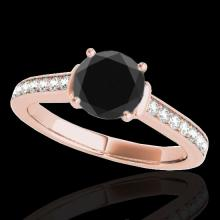 Genuine 1.50 CTW Certified Black Genuine Diamond Solitaire Bridal Ring Gold - 34929-REF#64A3N