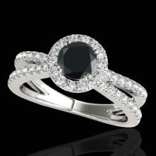 Genuine 2.0 CTW Certified Black Genuine Diamond Bridal Solitaire Halo Ring Gold - 33858-REF#90Y8V