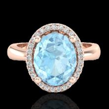 Natural 2.50 CTW Aquamarine & Micro Pave Diamond Certified Ring Halo 14K Gold - 21094-REF#30Z2Y
