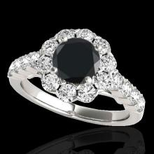 Genuine 3.0 CTW Certified Black Genuine Diamond Bridal Solitaire Halo Ring Gold - 33556-REF#126X7A