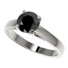 Genuine 1.50 CTW Fancy Black Genuine Diamond Bridal Solitaire Engagement Ring Gold - 33022-REF#40Y3V