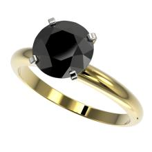 Genuine 2.50 CTW Fancy Black Genuine Diamond Bridal Solitaire Engagement Ring Gold - 32947-REF#57W8K