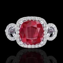 Natural 3.15 CTW Ruby & Micro Pave Diamond Certified Ring 18K Gold - 23008-REF#69Y2V