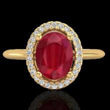 Genuine 2.0 CTW Ruby & Micro Pave Diamond Bridal Ring Solitaire Halo 18K Gold - 21019-REF#43M9H