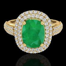 Natural 3.50 CTW Emerald & Micro Pave Diamond Certified Halo Ring 18K Gold - 20718-REF#105N5G