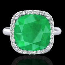 Genuine 6.0 CTW Emerald And Micro Pave Halo Diamond Ring Solitaire 18K Gold - 23097-REF#53G2W