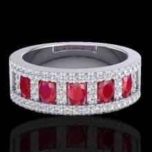 Natural 2.34 CTW Ruby & Micro Pave Diamond Designer Inspired B& Ring 10K Gold - 20826-REF#49Z2Y