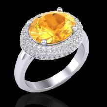 Genuine 4.0 CTW Citrine & Micro Pave Diamond Certified Ring 18K Gold - 20911-REF#69G4W
