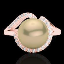 Genuine 0.27 CTW Diamond Certified & Golden Pearl Designer Ring 14K Gold - 22619-REF#37Y2V