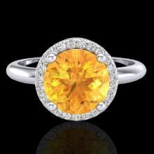 Natural 2.0 CTW Citrine & Micro Pave Diamond Certified Ring Designer Halo 18K Gold - 23206-REF#44N3G