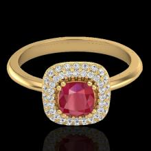 Natural 1.16 CTW Ruby & Micro Pave Diamond Ring Solitaire Double Halo 18K Gold - 21034-REF#66A8N