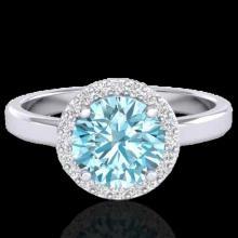 Genuine 2.0 CTW Sky Blue Topaz & Halo Diamond Micro Ring Solitaire Bridal 18K Gold - 21623-REF#47K8T