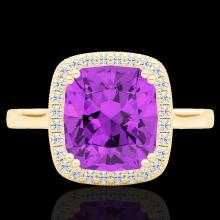 Genuine 2.75 CTW Amethyst & Micro Pave Diamond Halo Solitaire Ring 18K Gold - 22837-REF#47W5K