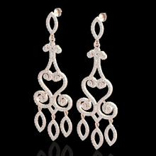 Natural 3.25 CTW Diamond Certified Micro Pave Designer Earrings 14K Gold - 22416-REF#203X4A